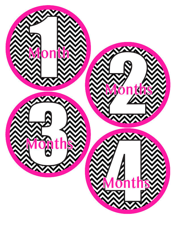 Baby Month Stickers Baby Girl Monthly Milestone Stickers Hot Pink & Black