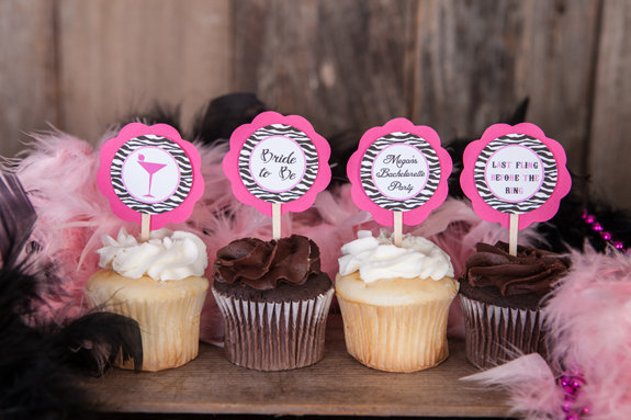 bachelorette party cupcake toppers bridal shower decorations hot pink and