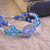 Blue glass bead bracelet with vintage focal bead