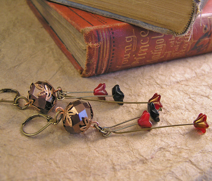 Bronzed woodland flower bead earrings