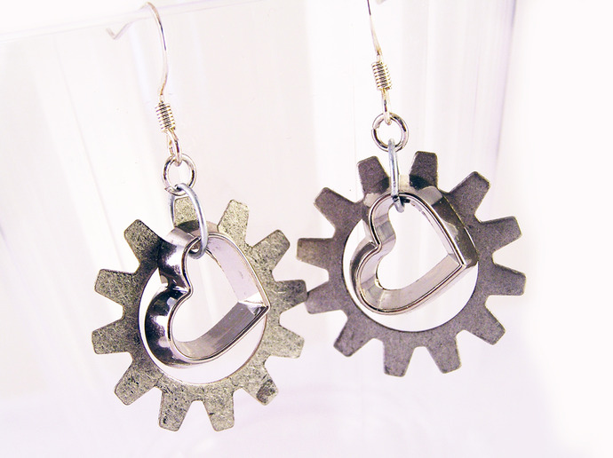 Heart and gear earrings. Silver gears and mini-heart charms. Clockwork heart