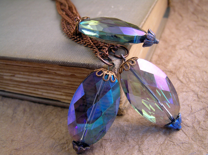 Floral Crystal Pendant. Your choice of one pendant with purple, blue, or green