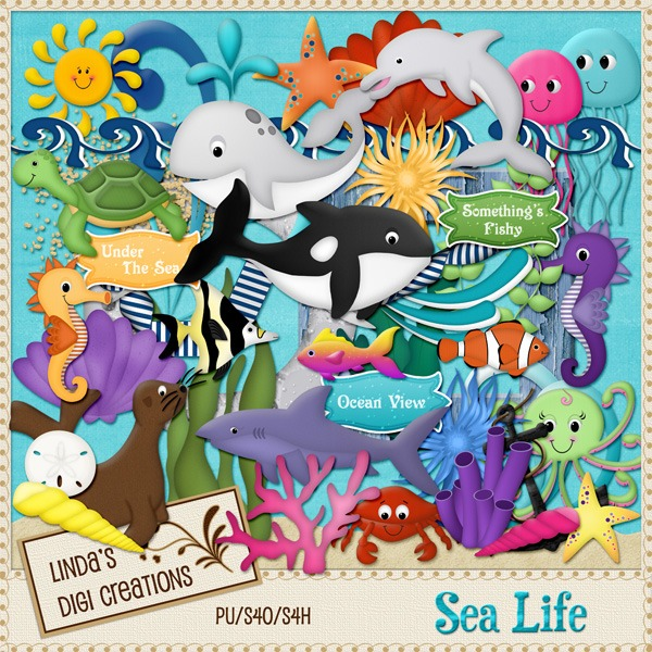 Sea Life (Digital Scrapbooking Kit)