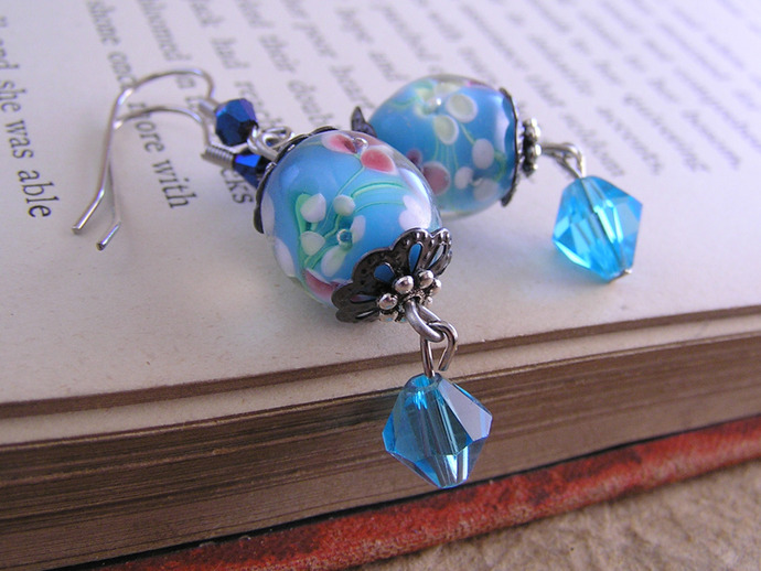 Lampwork glass blue and rose flower bead earrings