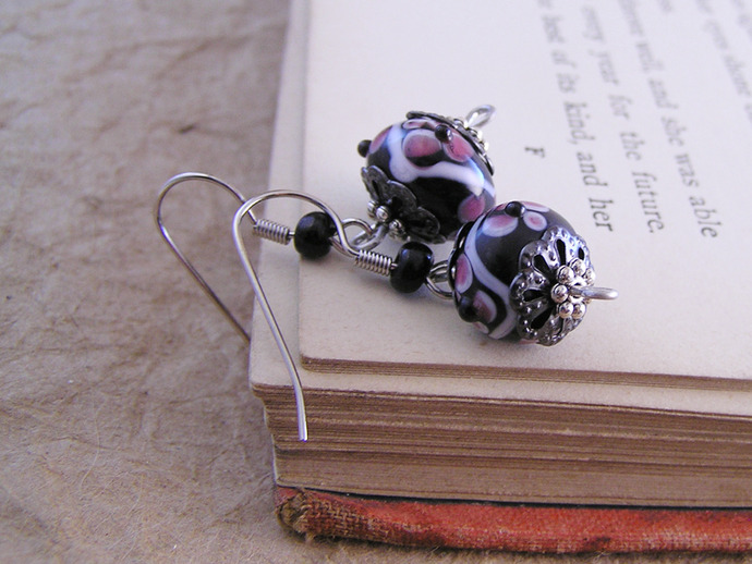 Lampwork glass rose flower bead earrings