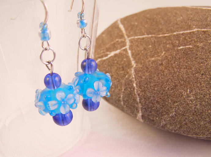 Lampwork glass flower earrings. Victorian style handmade jewelry