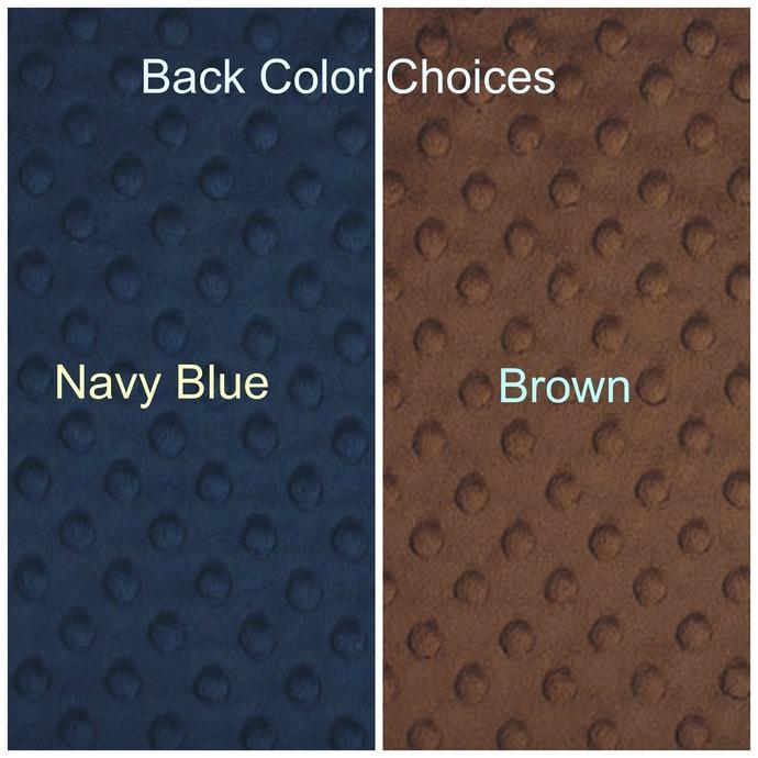 Blue Minky Blanket  Brown  Aztec Print Brown Minky Dot Back  Cabin Throw  Adult