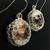 Silver wire crochet and lampwork earrings - Space ocean
