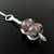 Silver wire crochet pendant with striped lampwork beads - Lampion