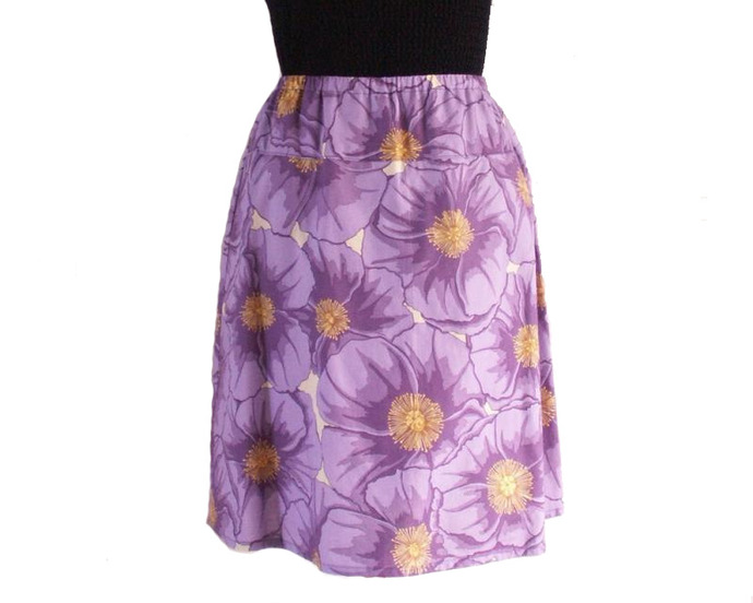 A Line Skirt  in Cotton Purple Poppy Print, Size Small