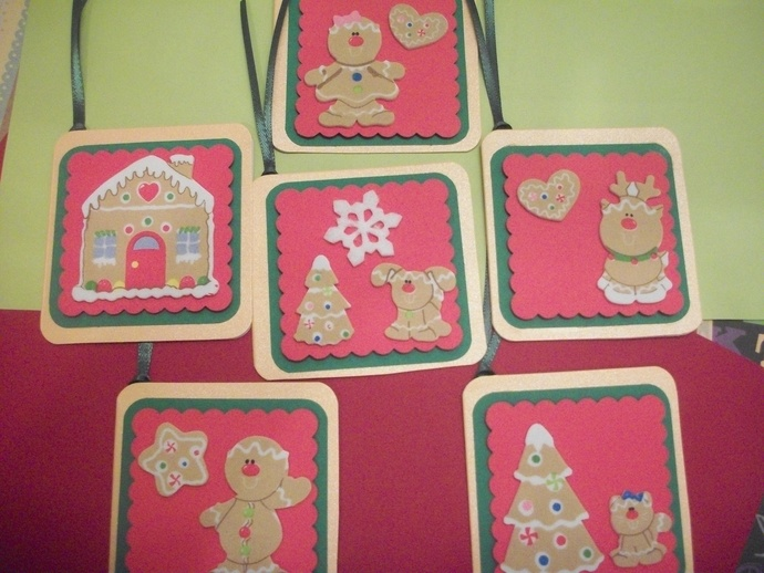 Handmade Gingerbread cookie design tags/6 ct