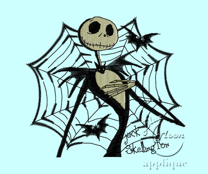 Jack Skellington Design for Embroidery Machines 4x4