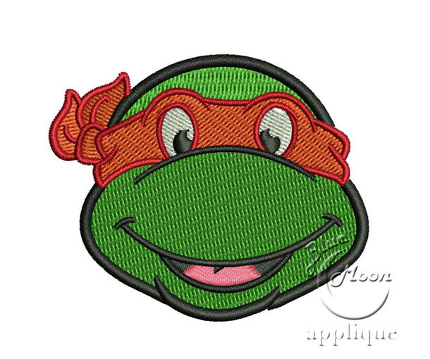 Cute ninja turtle head Design for Embroidery Machines 4x 4