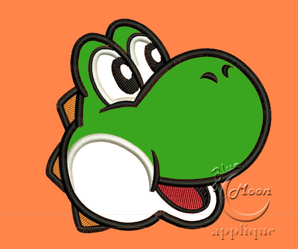 Cute yoshi head applique Design for Embroidery Machines. Size 4x4.  Instant
