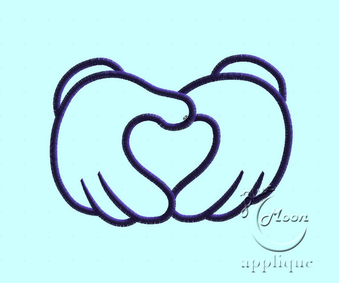 Hands Heart Sign Applique Design for Embroidery Machines. Size 4x4.  Instant