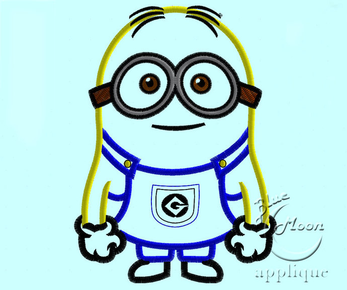 Cute Dave the minion Applique Design for Embroidery Machines. Size 5x7.  Instant