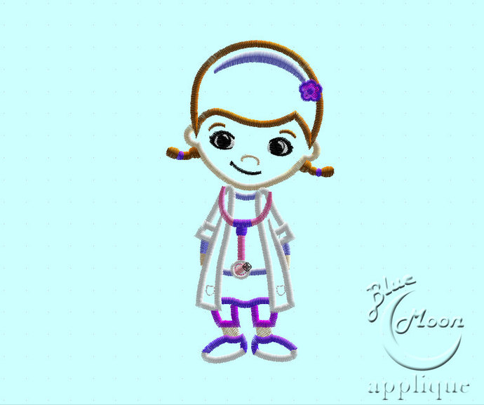 Cute Doctor Applique Design for Embroidery Machines. Size 5x7.  Instant Download