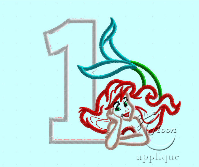ariel mermaid Birthday number 1 Applique Design for Embroidery Machines. Size