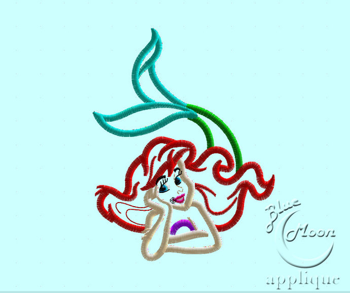 Ariel Mermaid Applique Design for Embroidery Machines. Size 6x10.  Instant