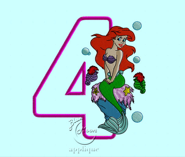 birthday Ariel Mermaid Applique Design for Embroidery Machines. Size 5x7.