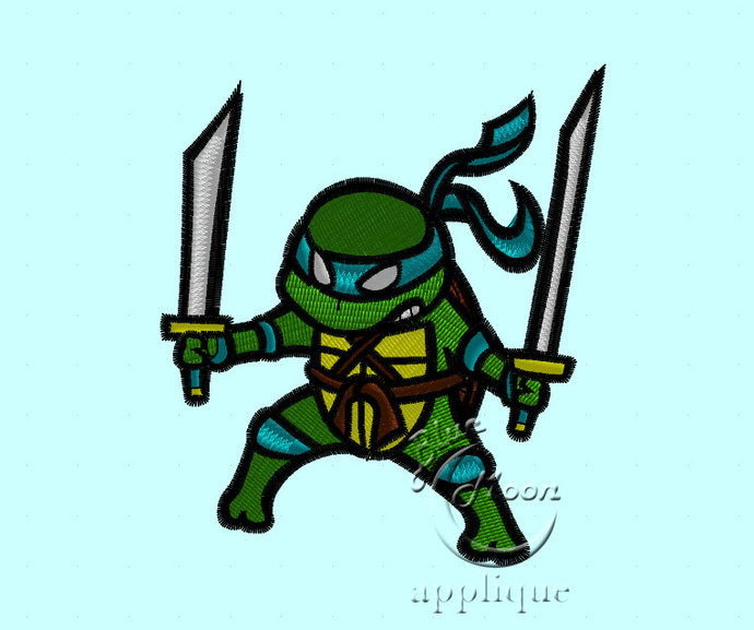 Cute mini ninja turtle Design for Embroidery Machines. Size 5x7.  Instant