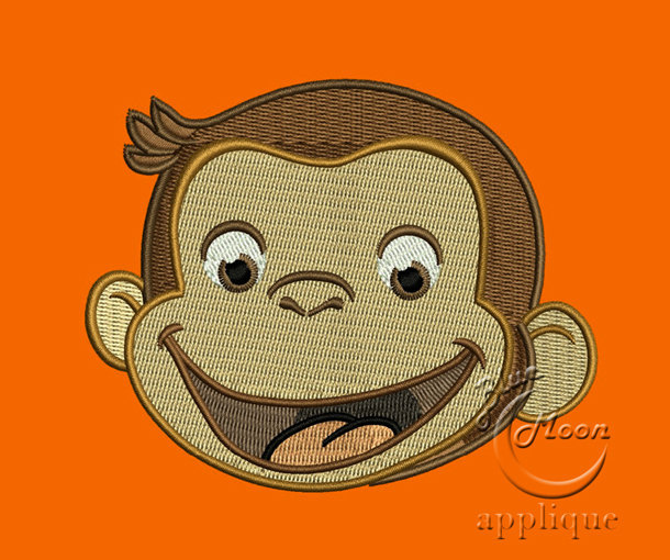 cute curious monkey head Design for Embroidery Machines. Size 5x7.  Instant