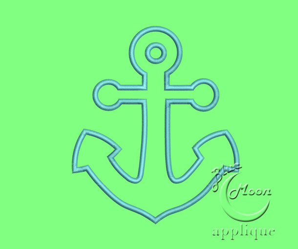 Anchor Applique Design for Embroidery Machines in 3 sizes