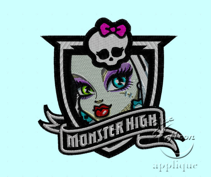 franky monster high skull insignia Design for Embroidery machines. Size 4x4.
