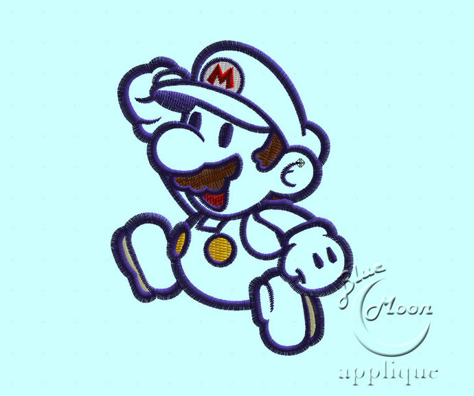 jumping mario applique Design for Embroidery Machines. Size 5x7.  Instant