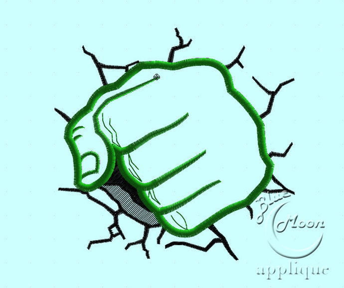 Hulk Fist Applique Design for Embroidery Machine. Size 4x4.  Instant Download