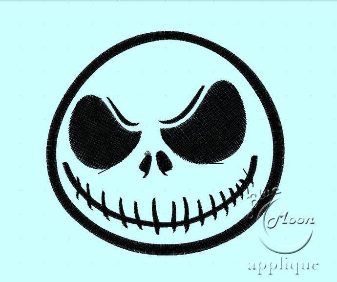 Skellington jack Head Applique Design for Embroidery Machines. Size 4x4.