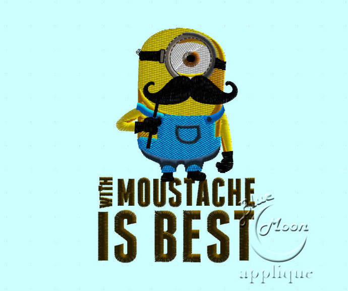 Cute minionn with moustache Design for Embroidery Machines. Size 4x4.  Instant