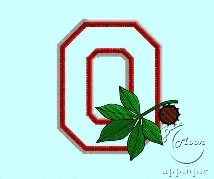 College Buckeye Applique Design Embroidery Machine. Size 4x4. Instant Download