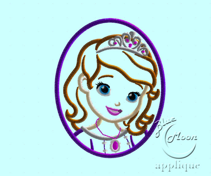 sofia the First Cameo Applique Design for Embroidery Machines. Size 4x4.