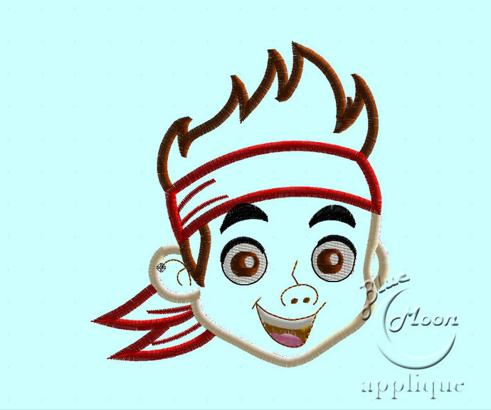 Cute Pirate Jake Applique Design for Embroidery Machines 4x4 - instant download