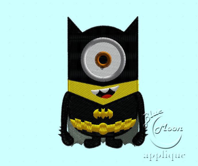 batman suit minionn Design for Embroidery Machines. Size 4x4.  Instant Download