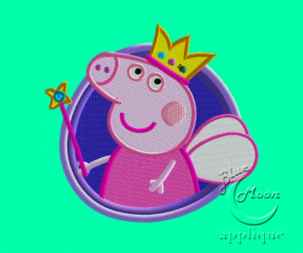 cute fairy peppa design for Embroidery Machines. Size 4x4.  Instant Download