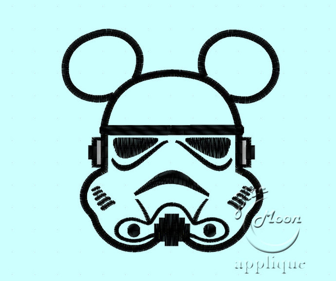 mr mouse stormtrooper head Applique Design for Embroidery Machines 4x4