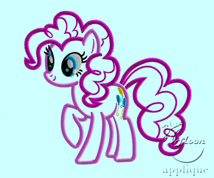 Cute Pink Pony Applique Design for Embroidery Machines 5 x 7 - instant download