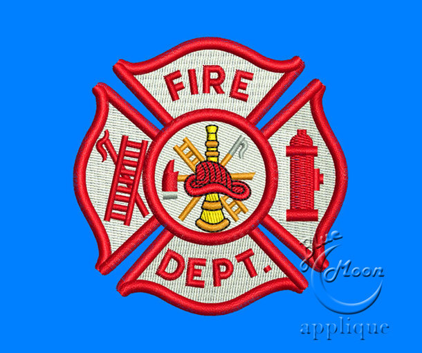 firefighter emblem embroidery design for Embroidery Machines 4 x 4 - instant
