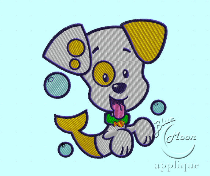 Bubble Fish Puppy Dog Design for Embroidery Machines. Size 4x4.  Instant