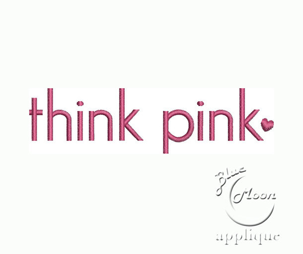 think pink Fill stitches and Applique Design Embroidery Machine 4 x 4 - instant