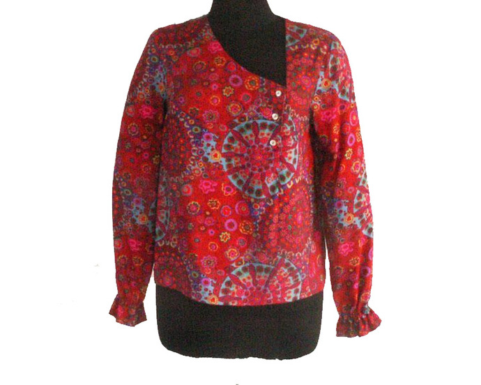 Red Millefiore Print Blouse, Size S, M, L