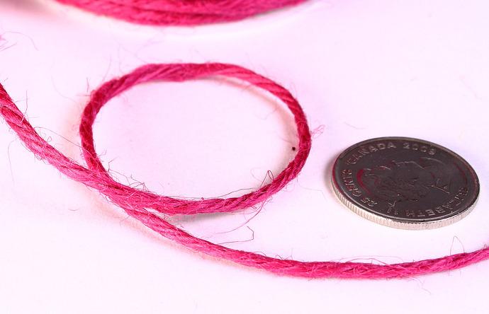 2mm raspberry pink colored Hemp Cord - 10 feet - Packaging string - Macrame hemp