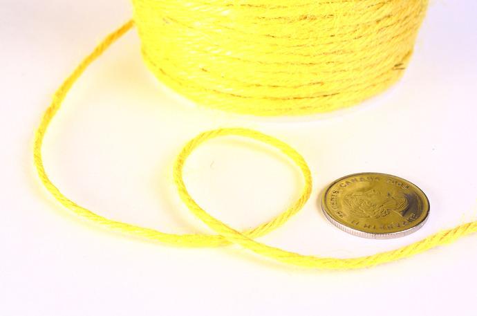 2mm Yellow colored Hemp Cord - 10 feet - Packaging string - Macrame hemp cord -