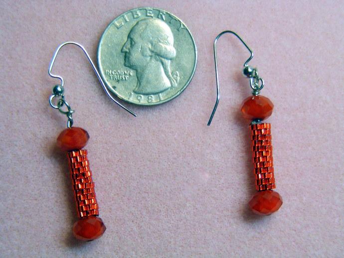 Shiny Red Dumb Bell Earrings