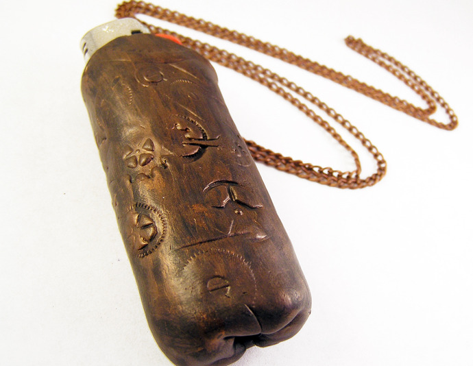 Steampunk lighter necklace or keychain for full sized disposable lighters