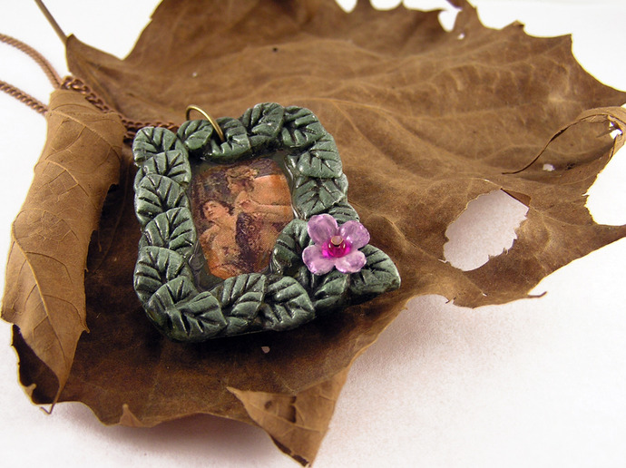 Victorian illustration Nymph pendant with purple flower bead