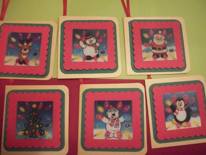 6ct Christmas assorted 3D motion moving images paper layered hanging holiday