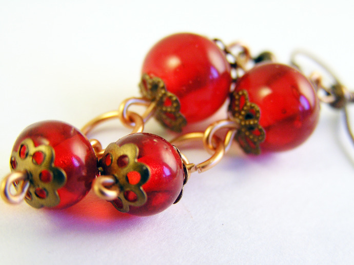 Copper and red glass dangle earrings